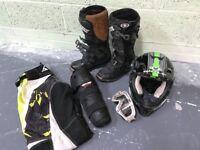 Motocross Boots, Helmet, goggles, knee shin pads, trousers good starter kit