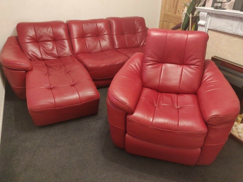 Dfs Red Leather Sofa And Recliner Chair Excellent Condition Free