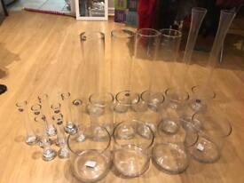 Job Lot of 23 vases - £4 each or £55 for all - perfect for wedding centrepieces