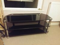 Large Black Glass TV Stand As New