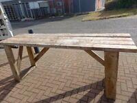 long heavy wood work bench