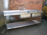 Catering commercial sink left hand drainer.