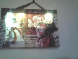 santa/snowman light up canvas New