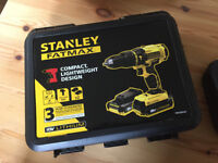 Brand New Stanley FatMax Cordless 18V 2Ah Li-Ion Brushed Combi Drill + 2 Batteries & Accessory Set