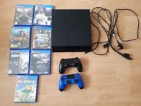 Sony Playstation 4, 7 games and 2 wireless controllers