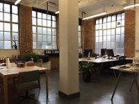 1-2 Desk spaces in light, big warehouse style studio with private kitchen, WC and communal rooftop