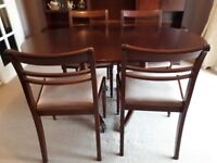 Meredew mahogany extending dining table and 4 chairs