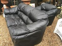 LEATHER SOFA AND ARMCHAIR ......