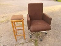 Brown swivel chair and tall stool