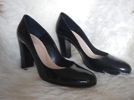 Italian full leather black highheels - 9cm/3'5 inches, size 38/5