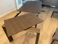 beautiful dark wood dining table 160 x90cm to extend to 220cm long + 6 chairs