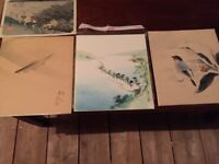 4 Japanese watercolours