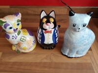 3 Cute Cat Money Boxes/ornaments. For collection only