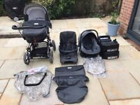 Bebecar 3 piece pram set with rain covers and car seat bases
