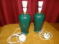 Lovely Pair of Deep Green with gold trim table lamps approx 1 ft high vgc. Standard Bayonet fitting.