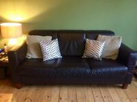 Brown Leather 3 + 2 seater sofas