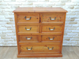6 + 1 Unique Heavy Duty Rustic Pine Chest of Drawers (Delivery)
