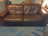 Ex Gillies Leather Sofa, Chair and 2 Footstools