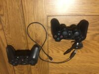Two 2 PS3 Controllers Headset, Charger Lead Bundle