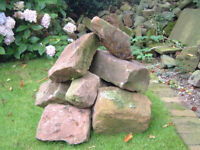 Rockery sandstone, yorkstone and cobbles