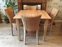 Solid Wood Oak Dining Table With Four Chairs