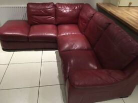Red/burgundy leather corner suite