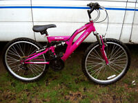 "GIRLS FULL SUSPENSION 24"" WHEEL MOUNTAIN BIKE FULLY SERVICED READY TO GO"