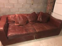 2 Four Seater brown leather sofas ( barker & stonehouse)