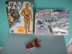 Vintage Star wars 3 x model kits & diecast landspeeder