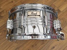 Vintage Pearl M-514D 14x6.5 Chrome Over Steel Seamless Shell Snare Drum