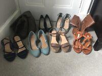 8 pairs ladies heels/boots size 5/6