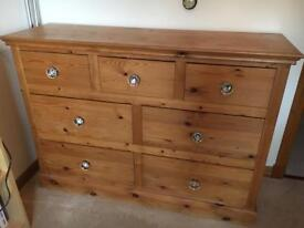 Wooden dresser large set of drawers with crystal knobs