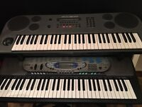 Casio CTK-571 Keyboard and Yamaha B200 Digital Synthesizer with Adjustable Double Quiklok Stand