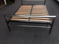 Chrome metal double bed