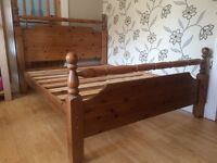 LARGE WELL MADE CHUNKY PINE DOUBLE BED