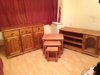 3 piece solid pine furniture set. To stand, side board and nest of tables