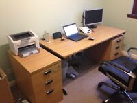 Project Office Desk & Drawers in Beech - Excellent Condition