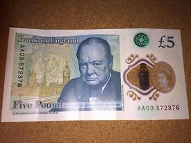 New Plastic £5 Note Serial Number AA03572376 Free P&P