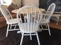 Amazing Shabby Chic Round Oak Table and 4 Lovely Round Back Chairs