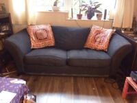 Three seater sofa and cushions