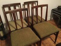Mid century, teak dining room chairs