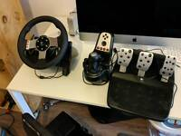 Logitech G27 Force Feedback Wheel and Pedal SetPlus stand