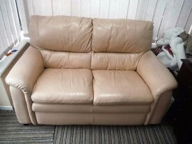 Leather sofa 2 seater in cream