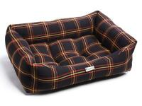 Brand New - Black Gold Tartan Luxury Sofa Pet Dog Bed (Large)