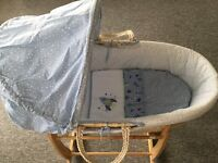 Mothercare space dreamer Moses basket with Claire de lune deluxe rocking stand