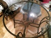GLASS /metal table & 3 chairs