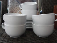 MARKS AND SPENCER LARGE WHITE CUPS AND SAUCERS X 6