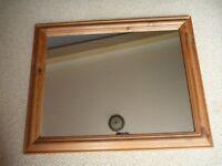 Rectangular Pine Mirror with Chunky Frame