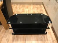 TV Stand, Black Glass with Chrome Legs