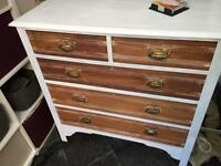 Solid wood chest of drawers, shabby chic, antique, brass handles